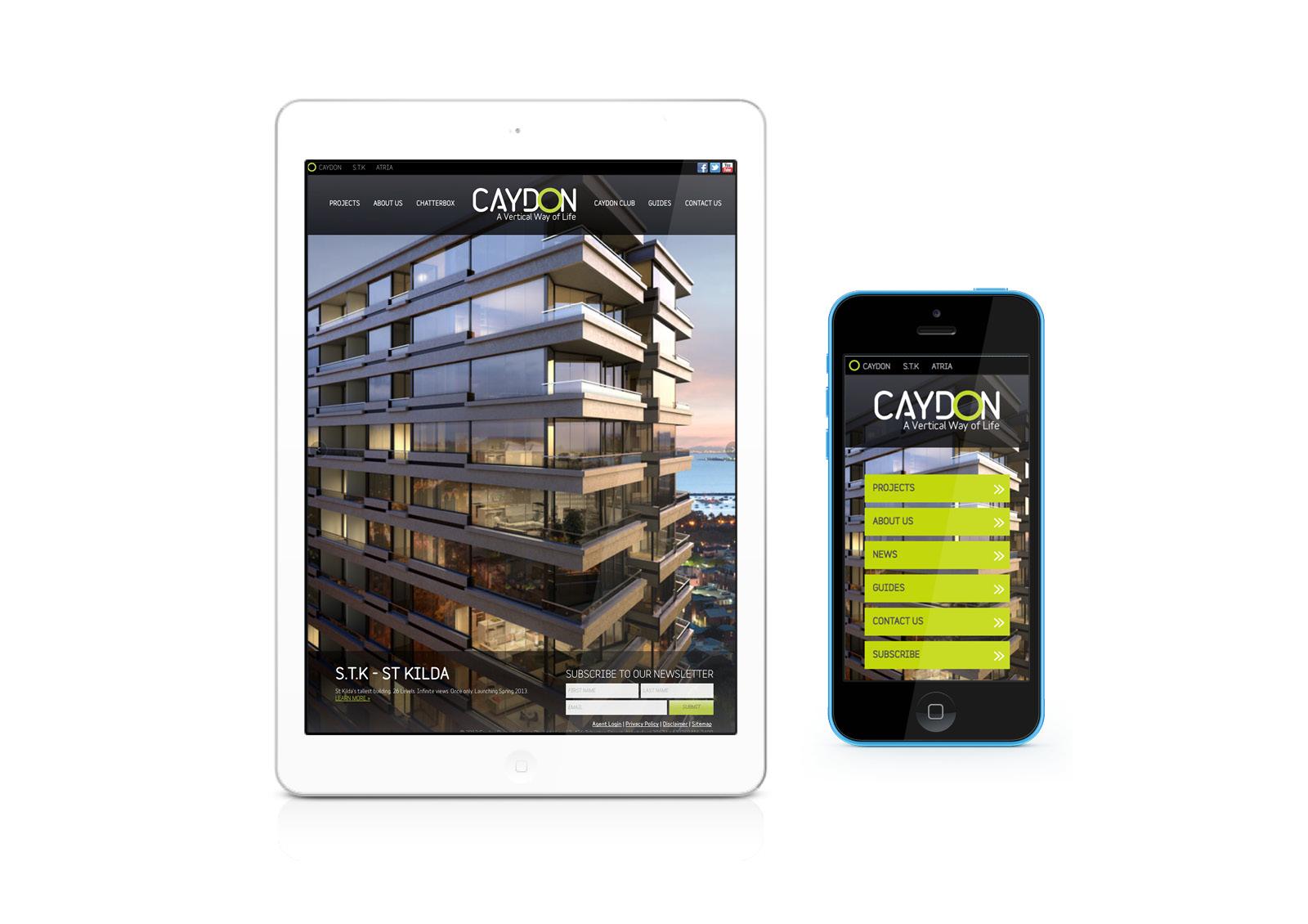Caydon mobile site - home