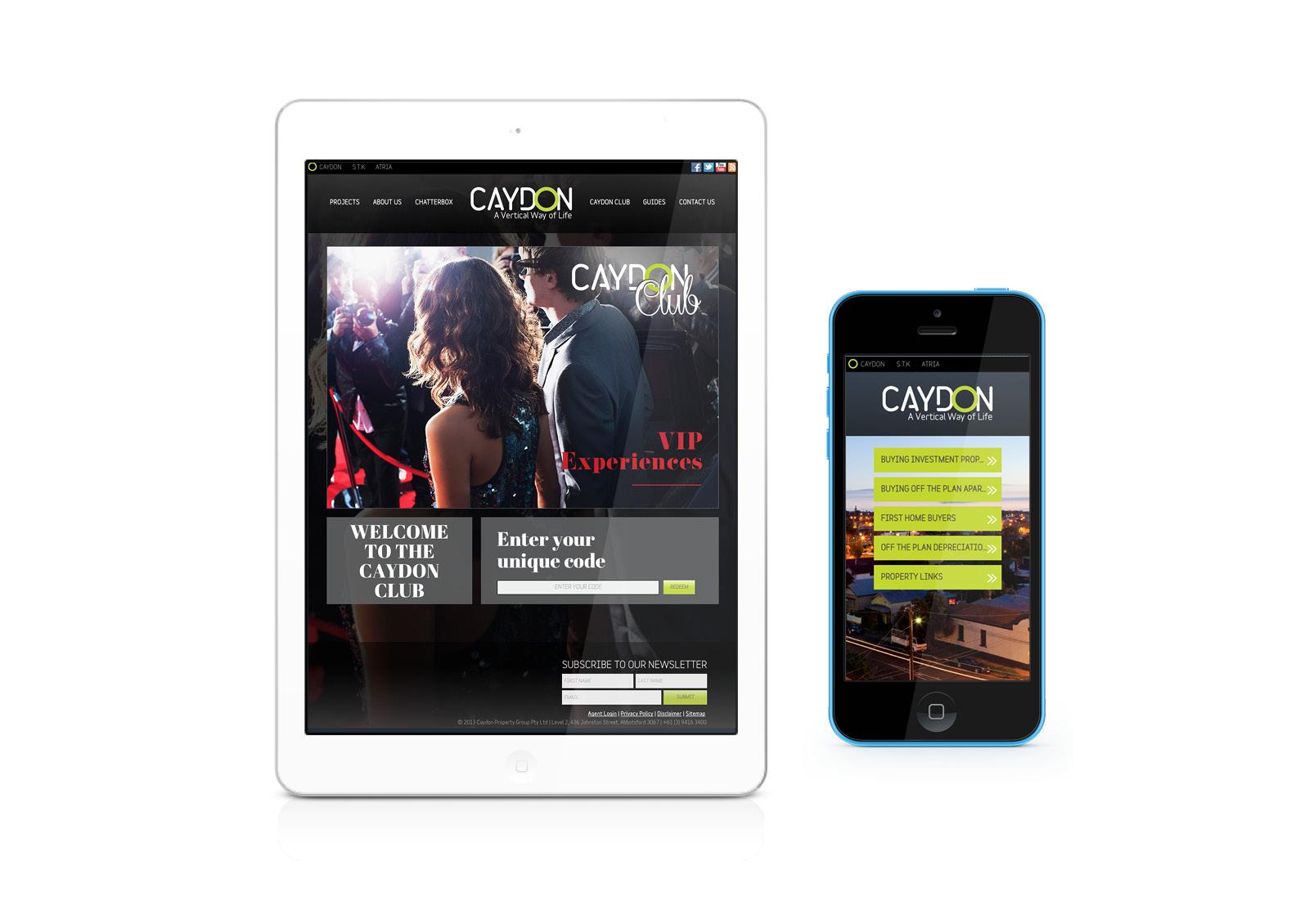 Caydon mobile site - club