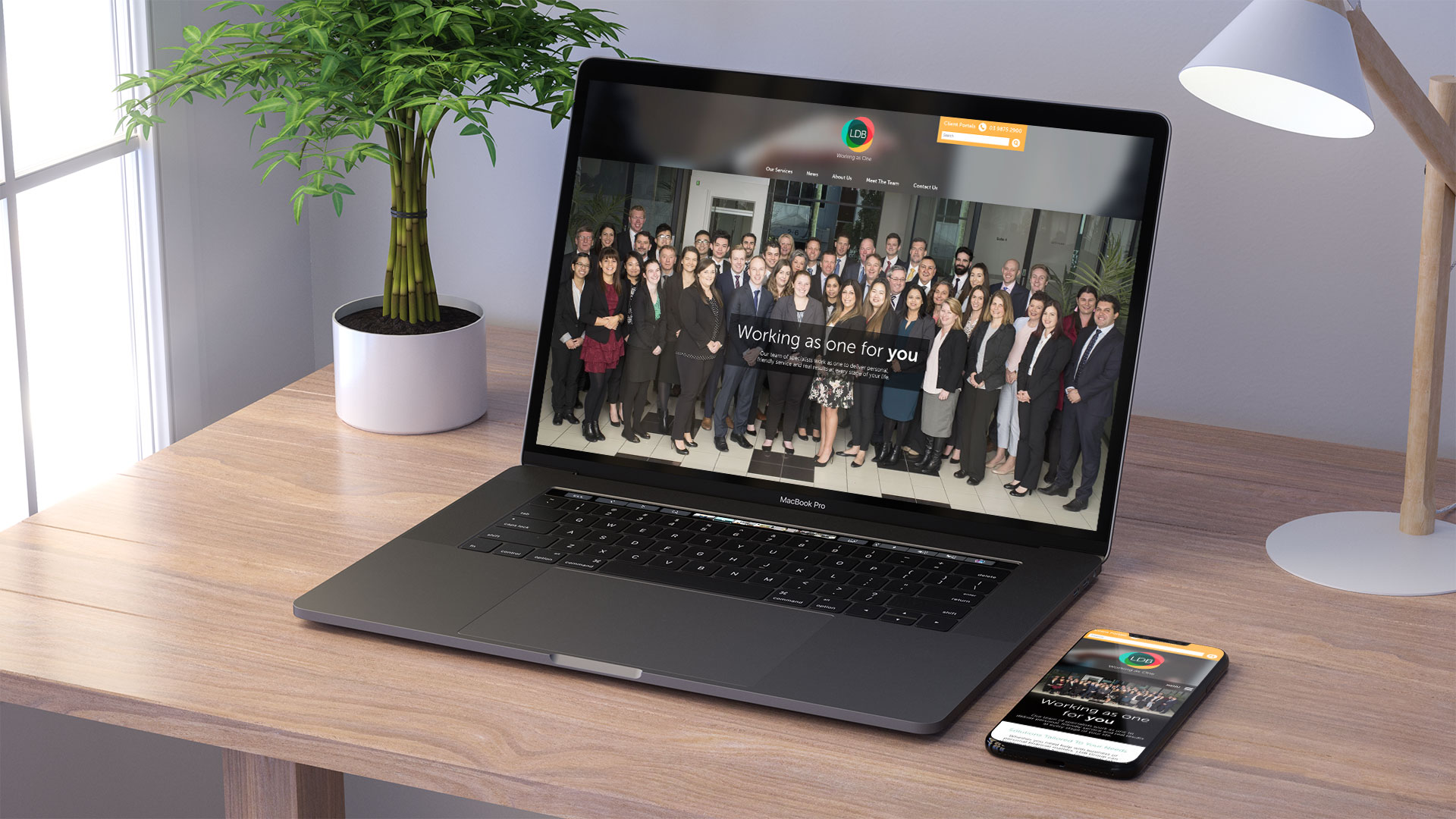 LDB Group website on macbook and iphone