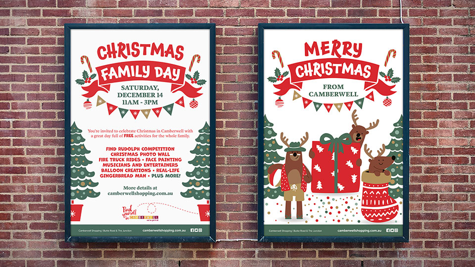 Christmas in Camberwell laneway posters