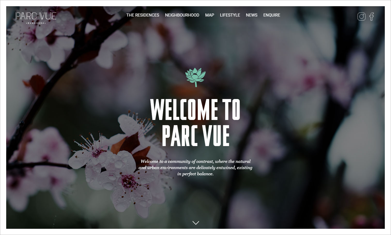 Design elements and typography work together in this website design for Parc Vue.