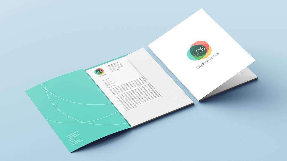 LDB Group presentation folder and letterhead